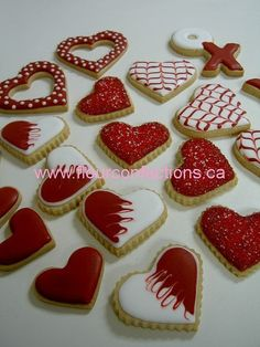 valentines assortment : Valentines Cookies by Lisa Bujega just playing around with some cookie dough and royal icing Valentine Desserts, Valentines Day Cookies, Valentines Baking, Valentine Cookies, Holiday Cookies, Valentine Hearts, Summer Cookies, Easter Cookies, Birthday Cookies