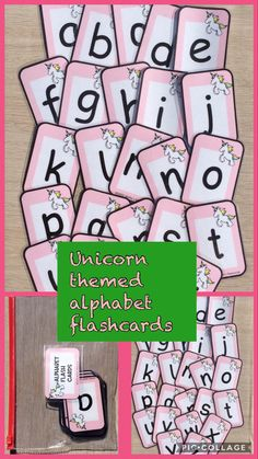 Alphabet flash cards, unicorn cards a-z lower case letters x Ideal for printing out and laminating For UK customers, this product can. Guided Reading Activities, Learning Activities, Activities For Kids, Tes Resources, Teacher Resources, Alphabet E, Kindergarten, Home Learning, Eyfs
