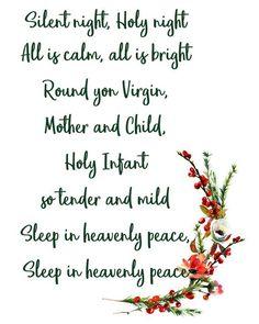 Silent Night printable wall art Christmas hymn instant | Etsy