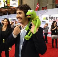Josh Groban with Kermit.