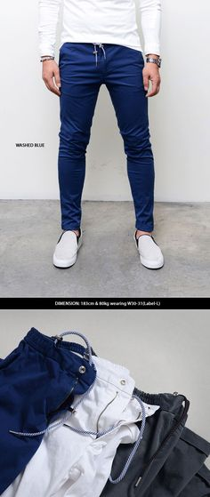 Bottoms :: Banding Waist Drawcord Slim Biker Khakis-Pants 146 - Mens Fashion Clothing For An Attractive Guy Look