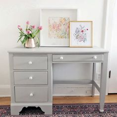"""""""I kept this desk sweet + simple with General Finishes Limestone Chalk Style Paint and classic white knobs. Repainted Desk, Refinished Desk, Refurbished Furniture, Furniture Makeover, Painted Furniture, Dresser Makeovers, Furniture Projects, Diy Furniture, Furniture Design"""