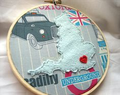 London England Embroidery Hoop Art by jenniferallevato on Etsy