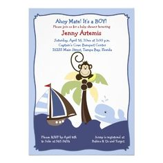 Ahoy Mate Whale, Sailboat  Monkey Invitation 5x7