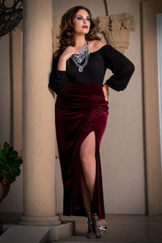 939ec339321 Look stunning at an unbeatable price in our plus size Velvet Opulence Maxi  Skirt. On. Kiyonna Clothing
