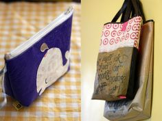 how to fuse plastic bags - all you really need is a bunch of plastic bags and an iron! Then you can make grocery totes, wallets, floor cushions, and bibs.