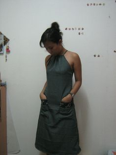 Drawstring Halter  And A Line Dress.     I want to do this! I can never find anything to fit properly.. why not make it myself?!?