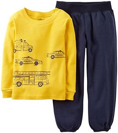 Carters Baby Boys 2 Piece Pant PJ Set Baby  Navy  18 Months *** Click on the image for additional details.