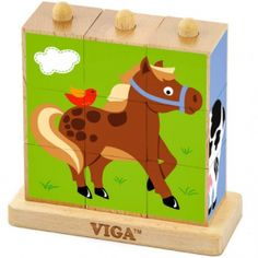 Farm - jucarie tip Montessori Montessori, Stacking Blocks, Stacking Toys, Cube Puzzle, Wooden Picture, Non Toxic Paint, Toddler Rooms, Farm Animals, Toy Chest