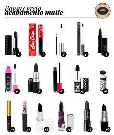 Batom preto matte: Inspirações e dicas de marcas para comprar o seu / Black matte lipstick: Inspirations to fall and brands.