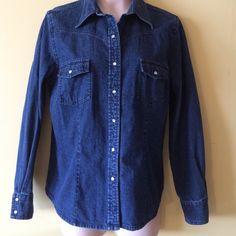 Eddie Bauer Denim Shirt Nice denim shirt. Snap front, sleeves and pockets. 100% cotton. Eddie Bauer Tops Blouses