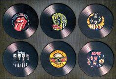 6 Porta-Copos Bandas Rock Emborrachados