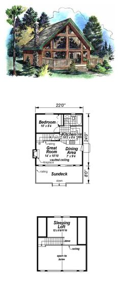 House Plan 58544 - Contemporary Style House Plan with 668 Sq Ft, 2 Bed, 1 Bath Narrow Lot House Plans, Modern House Plans, Small House Plans, Two Bedroom House, House 2, Guest Cottage Plans, Sims House Design, Contemporary Style Homes, Country Style House Plans