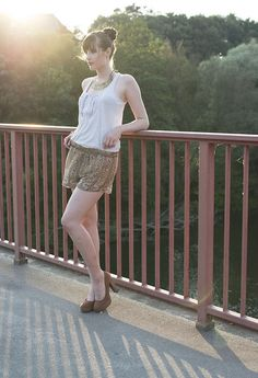 H Shorts, Primark Plateau Heels, H Statement Necklace