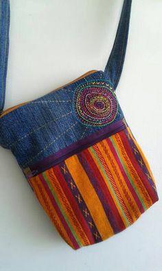 Here Comes The Sun. Radiant / Embroidered Festival Bag / Small Shoulder Bag / Sunshine / Rescued Denim / Colorful Pub Bag / Bag for Girl <3