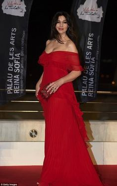 Ravishing in red: Monica Bellucci, 53, stole the show when she attended the premiere of La...
