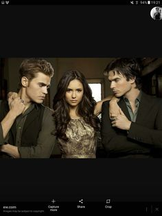Paul Wesley as Stefan Salvatore, Nina Dobrev as Elena Gilbert and Ian Somerhalder as Damon Salvatore of 'The Vampire Diaries'. Vampire Diaries Stefan, Vampire Diaries The Originals, Vampire Diaries Season 2, Vampire Diaries Quotes, Vampire Diaries Cast, Stefan Vampire, Katherine Pierce, Stefan Salvatore, Paul Wesley