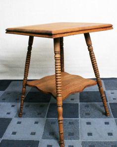 Antique Spool Leg Oak Side Table. $350.00, via Etsy.