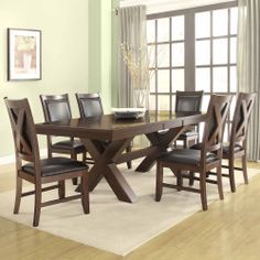 Dining Table and Chairs Leather Furniture Set | 7 Piece Dining Set Tables Chair