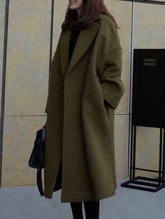 Product Name Oversized Lapel Plain Pocket Woolen Coat Brand Name Zobrain SKU Collar & neckline Lapel Embellishment Slit Pocket Material Woolen Occasion Date,Vacation Pattern Type Plain Season Winter Look Fashion, Autumn Fashion, Fashion Outfits, Fashion Design, Fashion Hacks, Fashion Coat, Jackets Fashion, Fashion Clothes, Fashion Photo