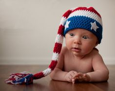I WANT to do a knitted version! of July Baby Pixie Hat, Crochet Red White and Blue Stars Hat, Newborn Photo Prop, Patriotic American Flag Hat Newborn Photo Props, Newborn Photos, Crochet Baby Hats, Baby Knitting, Crochet Photo Props, July Baby, Elf Hat, Holiday Crochet, July Crafts