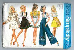 Retro Boho 1969 Simplicity 8208 dress or dirndl & bell bottoms sz 12 pattern Blouse And Skirt, Peasant Blouse, Blouse Dress, Skirt Pants, Jumper Pants, Waist Skirt, Brigitte Bardot, Dirndl Skirt, Vintage Outfits