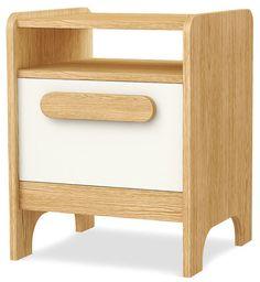 Dziecięca szafka nocna FIRST  Uniwersalny mebel, który może pełnić funkcję małej komódki lub szafki nocnej. Składa się z szuflady oraz półki. Wykonany z bezpiecznych i ekologicznych materiałów. Study Corner, End Tables, Nightstand, Magazine Rack, Cabinet, Storage, Bedroom Ideas, Furniture, Home Decor