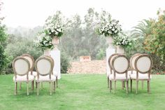 Rancho Valencia Wedding Photography by Cavin Elizabeth, wedding ceremony with gorgeous neutral chairs and large floral arrangements of white and green Outdoor Wedding Altars, Outdoor Ceremony, Wedding Ceremony, Ceremony Arch, Altar Flowers, Aisle Flowers, French Blue Wedding, Rancho Valencia, Wedding Chairs