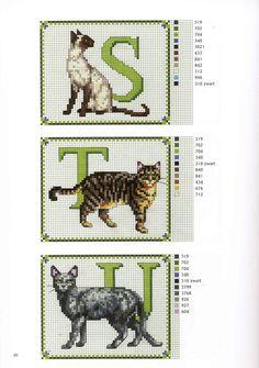 abc gatos S-U Cross Stitch Boards, Cross Stitch Letters, Beaded Cross Stitch, Cross Stitch Animals, Cross Stitch Kits, Cross Stitch Designs, Cross Stitch Embroidery, Cross Stitch Alphabet Patterns, Cat Pattern
