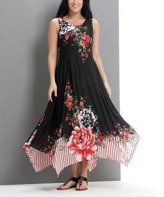 Black Floral Pop Art Handkerchief Maxi Dress