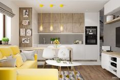 otwarta kuchnia z salonem - Szukaj w Google Modern Bedroom Design, Home Interior Design, Small Apartment Interior, Sweet Home, Ceiling Design, Small Apartments, Kitchen Design, Living Room, House