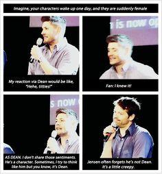 Supernatural Jensen acts like Dean Winchester Boys, Winchester Brothers, Jensen And Misha, Jensen Ackles, Supernatural Destiel, Supernatural Playlist, Castiel, Fandoms, Super Natural