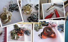 zip jewels by lentiggine creativa Repurpose, Reuse, Zippers, Brooch, Jewels, Fabric, Tejido, Tela, Jewerly