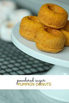 Pumpkin Donuts Recipe with Powdered Sugar