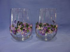 Hand Painted Stemless Wine Glasses Set of 2 by bunnyhutchdesigns