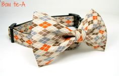 Argyle Brown / orange  Dog Collar with bow tie by WithYouCollars, $17.99