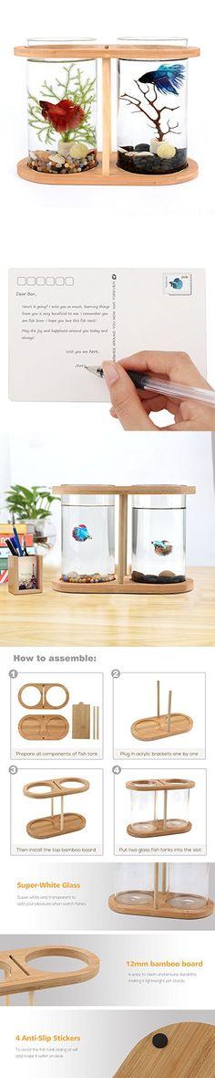 Segarty Cool Design Desktop Glass Fish Tank | Small Fish Bowls with Dual Glass Vase and Bamboo Shelf | 360 Degree View Fish Aquarium Kit For Betta Fish | Livingroom Home Office Decoration