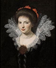 Bildnis einer jungen adeligen Dame. Öl auf Leinwand. 17th century