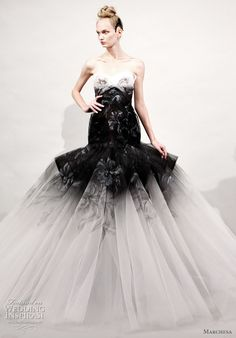 Marchesa Spring/Summer 2011 ready to wear collection - black and white tulle strapless dropped waist ball gown