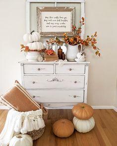 Farmhouse Homes, Farmhouse Decor, Dresser In Living Room, Coastal Fall, Fall Fest, Autumn Aesthetic, Old Dressers, Fall Harvest, Autumn Inspiration