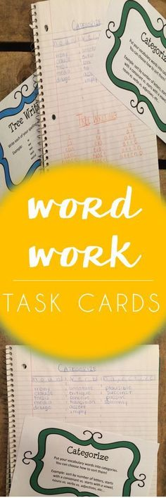 word work task cards for upper elementary big kids! nothing has motivated my kiddos for spelling and vocabulary like these activities - so easy for daily 5