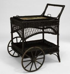 tea carts with wheels bamboo | Victorian wicker tea cart with 2 large front wheels ..not painted very fragile -