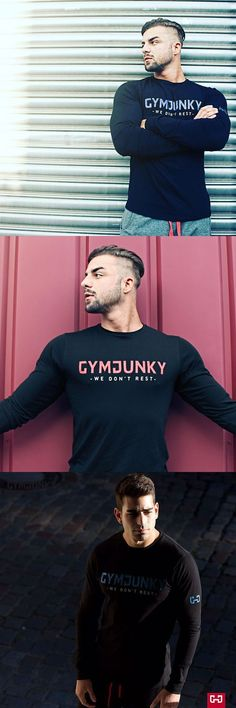 Muscle Fitness Men's Long Sleeves T-shirts Bodybuilding Casual Thin Breathable Elastic Bottoming Sweatshirts Clothing #musclefitness