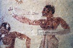 Stock Illustration : Dancer, fresco detail from Cardarelli Tomb, Necropolis of Tarquinia (Unesco World Heritage List, 2004), Lazio, Italy, Etruscan civilization, 6th century BC