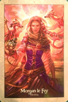 Morgan le Fey ~ Healing (Oracle of the Dragonfae by Lucy Cavendish) Divine Goddess, Triple Goddess, Goddess Art, Morgana Le Fay, Angel Guide, Celtic Mythology, Oracle Tarot, Spirited Art, Angel Cards