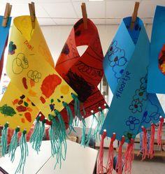 Sjaaltjes - winter 2012. Tip: laat de sjaaltjes versieren met voorbereidende schrijfoefeningen.