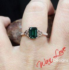 Emerald & White Sapphire Celtic Knot Engagement Ring 2ct 8x6mm-Custom-10k 14k 18k White Yellow Rose Gold-Platinum Wedding-Anniversary - 14kYellow+Moissanite