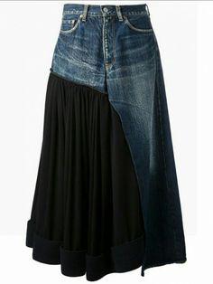 Sewing Skirts Jeans Diy Ideas New Ideas Artisanats Denim, Denim Skirt, Denim Vintage, Vintage Buttons, Dress Vintage, Vintage Style, Vintage Ladies, Jean Diy, Mode Jeans