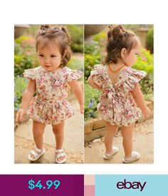 1e3c072469f3 UK Stock Cute Newborn Baby Girls Floral Romper Jumpsuit Bodysuit ...