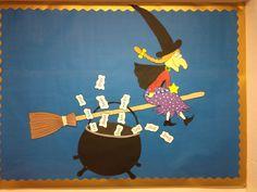 Room on the Broom beginnings. Eyfs Activities, Book Activities, Kindergarten Bulletin Boards, Room On The Broom, October Crafts, Halloween Door Decorations, English Activities, Trunk Or Treat, School Art Projects